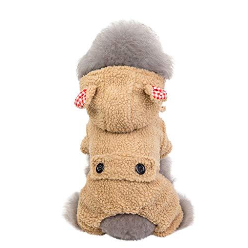 Sport Funny Hüte Kostüm - Herbst Winter Kapuzenjacke Fleecemantel Hundemantel Hundepullover mit Hundeohr Hut, Mode Haustier Katze Hundebekleidung Sweater (2XL, Bhun)
