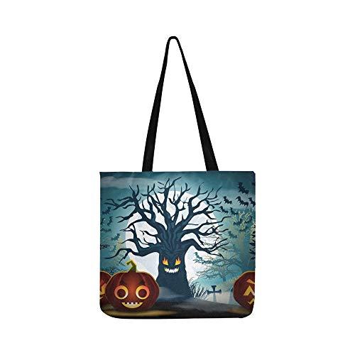 Halloween Scary Baum Kürbisse Leinwand Tote Handtasche Schultertasche Crossbody Taschen Geldbörsen Für Männer Und Frauen Einkaufstasche
