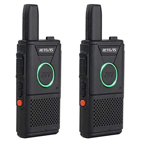 Retevis RT618 WalkieTalkie PMR446 Licenza-Libero 1000 mAh Lunga Distanza Ultra-sottile Doppio PTT Walkie-Talkie Operazione Una Mano Alta Qualità Mini USB Walkie Talkie Ricaricabili (Nero, 1 coppie)
