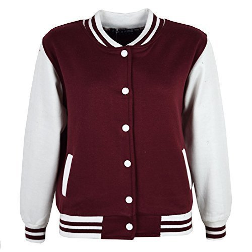Mädchen Jungen BASEBALL JACKE VARSITY Stil Mode Einfach SCHULE JACKEN TOP Alter 5-13 Jahre (Varsity Jacken Kinder)