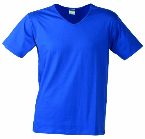 James & Nicholson - T-Shirt Slim Fit V-Neck, Maglia a maniche lunghe Uomo Blu (royal)