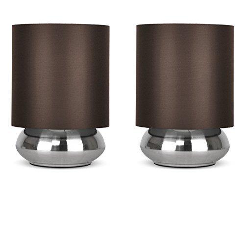 Set von 2 – Runde Touch-Me Tischlampe mit einem verchromten Finish und einem braunen Lampenschirm aus Stoff (Glocke-glas 1 Licht)