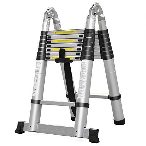 King Ladder Alu Multifunktionsleiter in verschiedenen Größen, Mehrzweckleiter Profi-Leiter nutzbar als Anlegeleiter, Bockleiter, Stehleiter, 5 Meter mit Standfuß