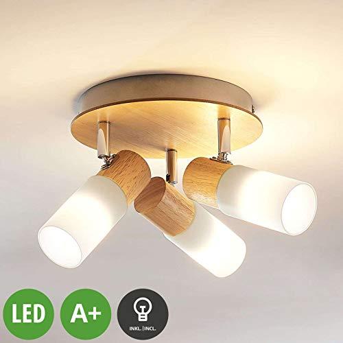 LED Proyector, foco 'Christoph' (Moderno) en Marrón hecho de Madera e.o. para...