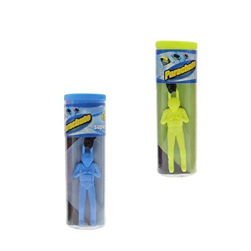 Fenteer 2X Mini Hand Wurf Fallschirm Soldat Outdoor Sports Kinder Spielzeug ( Fluoreszierendes Grün + Blau )