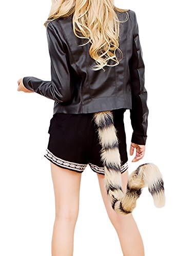 Machen Katze Schwanz Kostüm - Halloween Kostüme Damen Cosplay Outfit Katze Schwanz Einstellbar Elegante Bequeme Größen Fashion Hübsch Schweifanhänger Faschingskostüme (Color : Grau, Size : One Size)