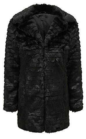 New Womens Plus Size Long Winter Fox Fur Jacket X-Mass Coat ( Black , UK 18 / EU 46 )