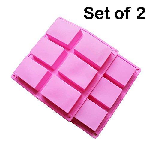 Stampo in silicone per rettangolo depot baker per sapone artigianale, torta, pane 6 fori, set di 2