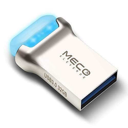 USB Stick 32GB, MECO ELEVERDE USB 3.0 Memory Stick Mini LED Leuchtend USB Flash Drive Aluminium Speicherstick mit Schlüsselband Kindertag/Geburtstag Geschenk für School, Büro,Kinder und Home