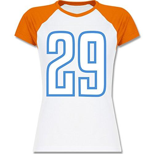 Shirtracer American Football - Football Tennessee 29 - Zweifarbiges Baseballshirt/Raglan T-Shirt für Damen Weiß/Orange