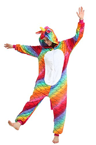 Missley Regenbogen Fischschuppen Einhorn Cosplay Pyjamas Unisex Flanell Tier Neuheit Pyjamas Nachtwäsche Kostüme (Einfach Teenager Halloween Kostüme)