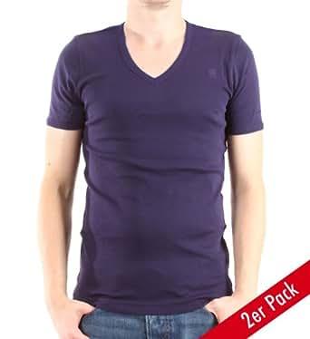 G-STAR Herren T-Shirt V-Neck Short Sleeve 2 Pack, navy, Gr. S