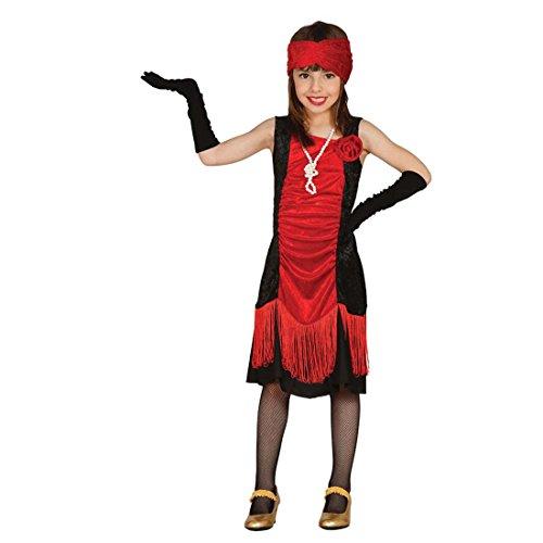 leid Mädchen Charleston Kinderkostüm S 110/116 5 - 6 Jahre Flapper Dress Kinder 20er Jahre Can Can Kostüm Mottoparty Zwanziger Fransenkleid Kinderfasching ()
