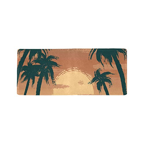 Hand Drawn Coconut Tree Summer Cool Lether Business Card Coin Id Pouches Holder Travel Clutch Purse Money Clip Bifold Wallet Case for Girls Men and Women Front Pocket Checkbook