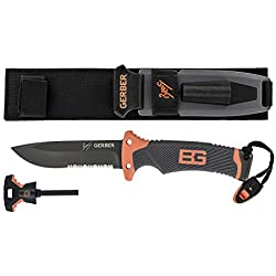 Gerber Bear Grylls Ultimate Fixed Blade Knife lame crantée