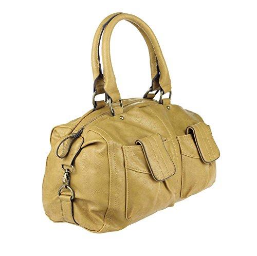 ital-design Damen Tasche Bowlingtasche Handtasche Henkeltasche City Schultertasche Sporttasche CrossOver 36x27x11 cm (BxHxT)