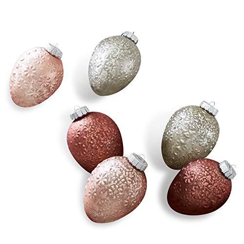 Loberon Osterei 6er Set Sparkly, Osterdeko, Glas/Aluminium, H/B/T/Ø ca. 10/7,5/7,5/7,5 cm, rot/rosa