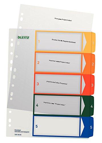 Leitz Register PC-beschriftbares/1291-00-00 A4, farbig/transparent 1-5