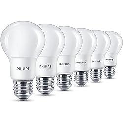 Philips - Bombilla LED esférica casquillo E27, 8 W, equivalente a 60 W, luz blanca cálida, 806 lúmenes, pack de 6