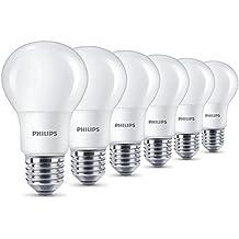 Philips LED 8W (60W) Bombilla de bajo consumo (E27, rosca Edison bombillas de luz, blanco cálido, Escarchado–Pack de 6,, E27, 8W, 6unidades)