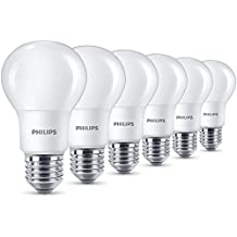 Philips - Bombilla LED esférica E27, 8 W, equivalente a 40 W, blanco cálido, 806 lúmenes, no regulable, pack de 6