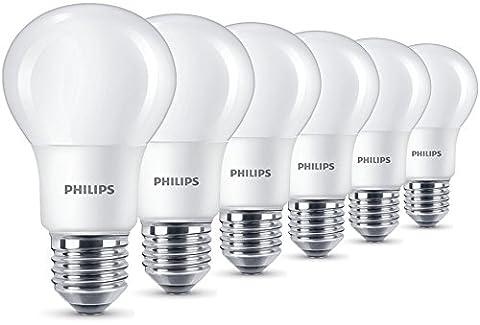 Philips Lot de 6ampoules LED 8W (60W) Culot à vis Edison E27, Blanc Chaud, givré,, E27, 8watts, Lot de 6