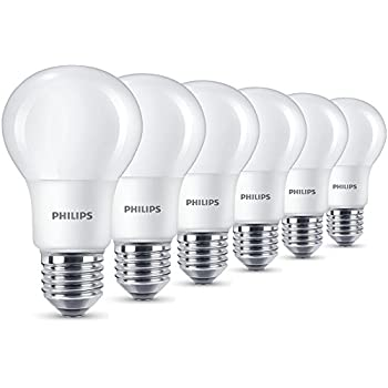 Philips LED E27 Edison Screw Light Bulbs, Frosted, 8 W (60 W)   Warm White,  Pack Of 6