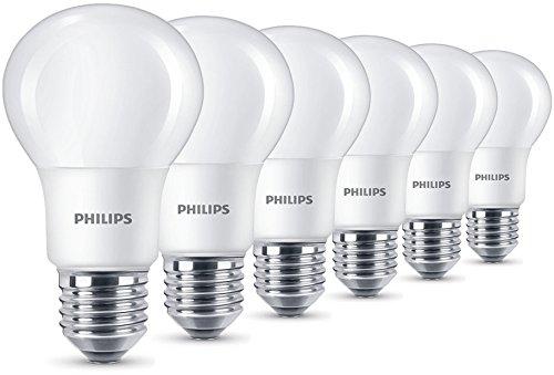 Philips LED 8W (60W) E27Lampadine Edison, luce bianca calda, satinato, Confezione da 6, E27, 8Watt, confezione da 6