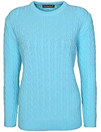 9d901166c43f8 Lets Shop Shop New Womens Ladies All Over Chunky Cable Knit Long Sleeve  Jumper Round Crew Neck Top Knitted Pullover Sweater Plus Size…