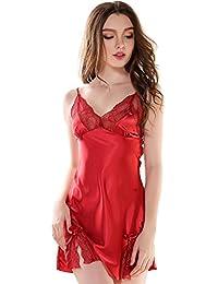 Aivtalk Mujer Camisón Vestido de Tirantes Slip Seda Ropa de Dormir con Encaje Chemise Escote V Ropa de Noche Lenceía Talla M/L/XL 3 Colores a Elegir