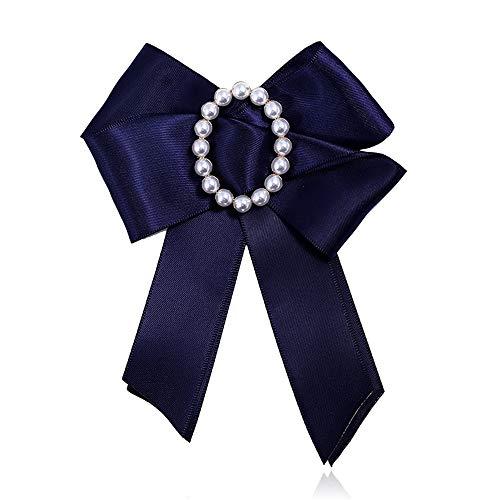 Yamyannie-BWT Handgemachte Fliege, Frauen Band Kristall Perle Bogen Pre-Tied Krawatte Broschen Fliege Hochzeit Party (Farbe : Blau)