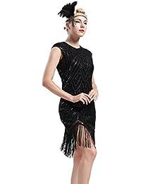 BABEYOND Damen Kleid Retro 1920s Stil Flapper Kleider voller Pailletten  Runder Ausschnitt Great Gatsby Motto Party… 94f3bafe0e