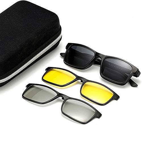 Easy Go Shopping 3 stücke austauschbare linsen für männer Frauen nachtsicht und 3D-linse unzerbrechlich tr90 Rahmen Clip-on uv-Schutz Magie Sonnenbrille mit magnetisch