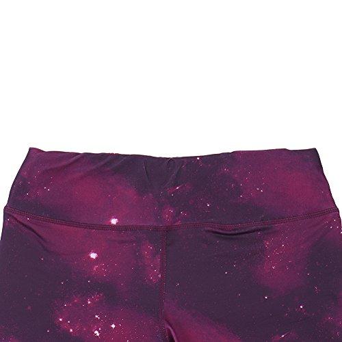 Hjuns™ pantalon cigare de sport yoga exercice gym jogging femme respirant élastique couvert de graffiti des étoiles bleu Violet