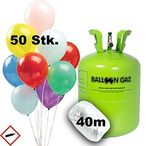 m Einweg Flasche XXL für 50 Ballons Luftballons Geburtstag Taufe Hochzeit Party inkl. Ballonband und 50 Latex-Ballons ()