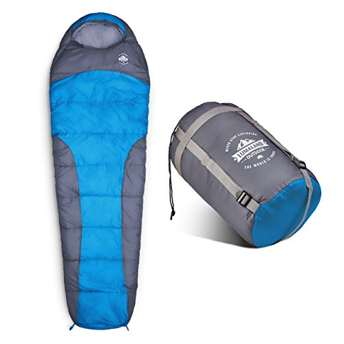 Lumaland Outdoor sacco a pelo, ca. 230 x 80 cm, sacca per il trasporto inclusa, confezione ca. 50 x 25 cm, blu