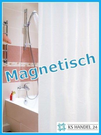 duschvorhang magnet MAGNETISCH BESCHWERT! TEXTIL DUSCHVORHANG WEISS 180x180 cm INKL. DUSCHRINGE!