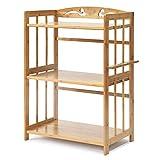 Küchenregal 3 Tier Mikrowellenherd-Gestelle, Bambus-Holz-Küchenboden-Regal, Hauptorganisation-Speicher-Stand (größe : 60x38x80cm)