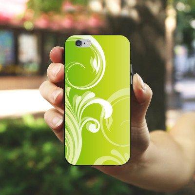 Apple iPhone X Silikon Hülle Case Schutzhülle Blumen Ranken Blätter Silikon Case schwarz / weiß
