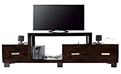 Timbertaste Sheesham Wood 1.75 Meter Dark Walnut Finish 3 Draw NewNadia TV Unit Cabinet Entertainment Stand
