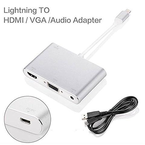 JBENG Plug & Play 3 en 1 Lightning 8 broches vers HDMI et VGA et adaptateur audio avec câble de recharge USB Micro pour iphone7 / 7 plus / 6 / 6s / 6s plus / ipad4 / ipad mini