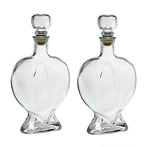 2 bouteilles en verre vides 500ml bouteilles de coeur en
