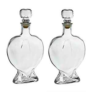 2 leere glasflaschen 500ml in herzform neue flaschen mit glaskorken herzflasche herzflaschen zum. Black Bedroom Furniture Sets. Home Design Ideas