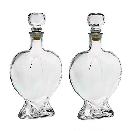 Botella de Vidrio Vacía Forma de Corazón con Corcho 500 ml para Rell