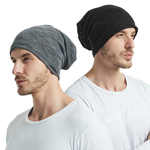 EINSKEY Mützen Herren Damen Baumwolle Slouch Beanie Mütze Skull Cap Kopfbedeckung Set Schwarz & Grau für Chemo, Sport, Krebs, Schlaf