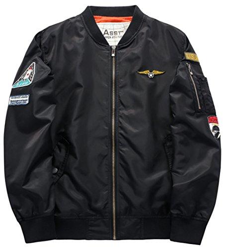 YYZYY Homme Classique Blousons Manteaux vol Air Force Aviateur Bomber MA1 Veste Pilot Flight Jacket Coat 16 couleur XS-4XL B1616-Noir