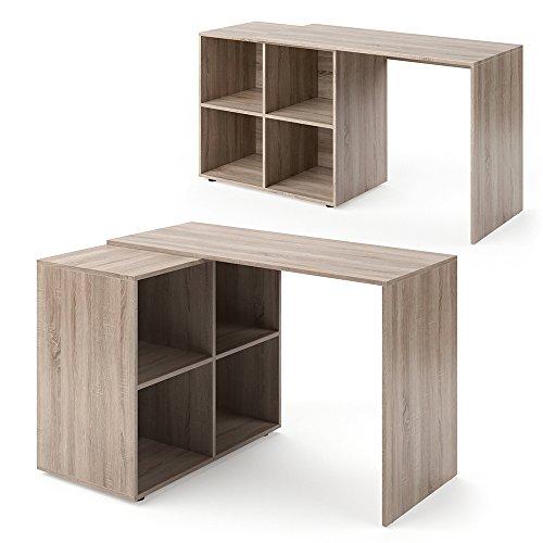 VICCO Regal-Kombination 90°-180° winkelbar weiß sonoma eiche - Schreibtisch Eckschreibtisch Regal...