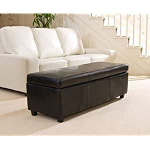 Sofa Collection Avignon Black Extra Large Ottoman in Bonded Leather, 45x120x43 cm