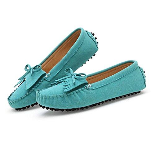 Oriskey Damen Mokassin Bootsschuhe Wildleder Loafers Schuhe Flache Fahren Halbschuhe Slippers Blau