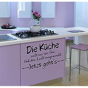 *NEU* Wandaufkleber/Wandtattoo/Wandsticker – Spruch ***Die Küche sieht aus wie Sau. Hab das Licht ausgemacht. Jetzt geht´s*** (Größen.- und Farbauswahl)
